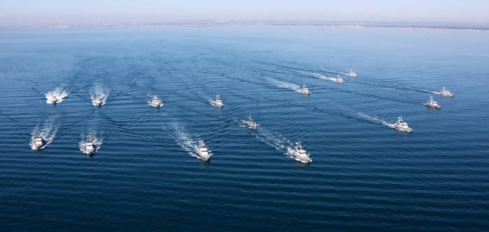 Medusa in company with the ships of the Roya Navy First Patrol Boat Squadron