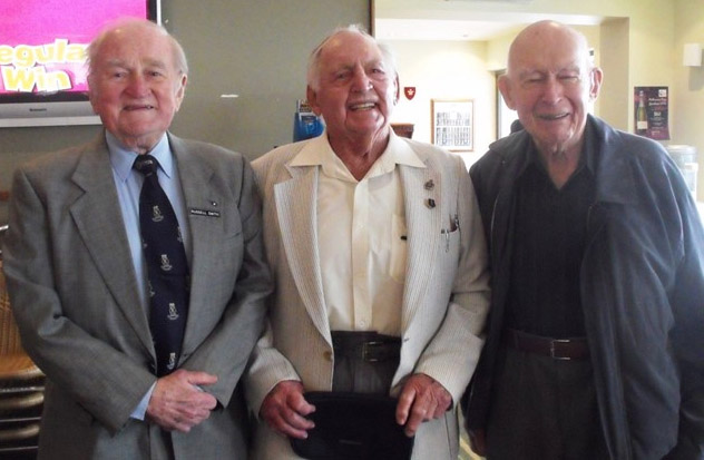 Russell Smith, former 1st Lt, HDML 1321, Thomas Dennis and Ron Reynolds in 2010