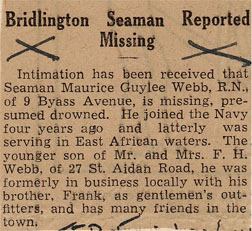 """newspaper clipping """"Bridlington Seaman Reported Missing"""""""