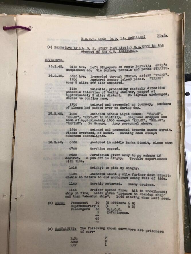 Original report by First Officer Lt G K Stein MRNVR
